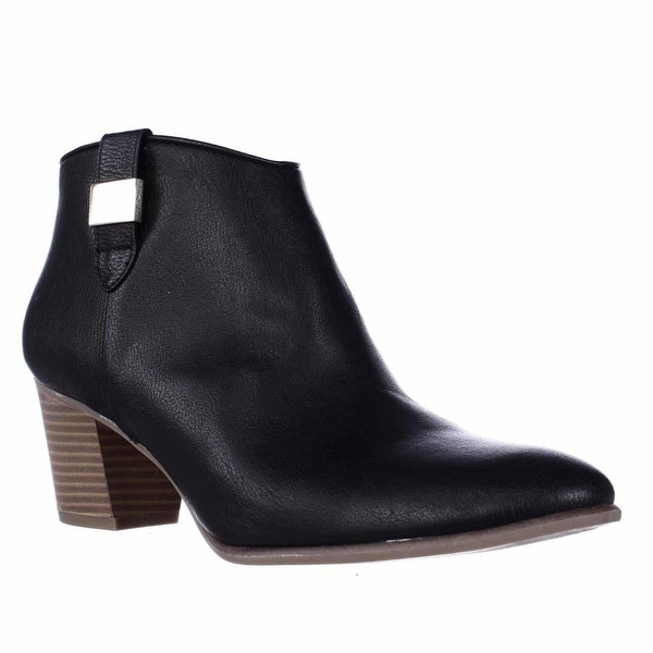 A35 Leoh Casual Low-Heel Ankle Booties, Black