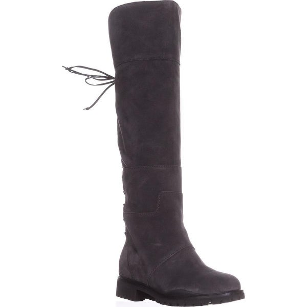 Nine West Mavira Lace Up Over-The-Knee Boots, Dark Grey