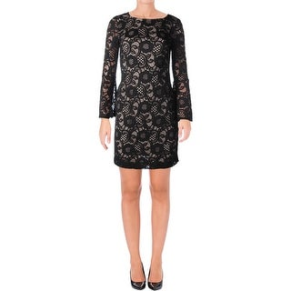 Signature By Robbie Bee Womens Petites Semi-Formal Dress Lace Illusion
