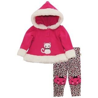 Duck Goose Baby Girls Cute Kitty Hooded Fleece Pullover Jacket Pant Outfit Set