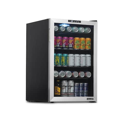 NewAir 160 Can Freestanding Beverage Fridge in Stainless Steel with SplitShelf and Precision Digital Thermostat, NBC160SS00