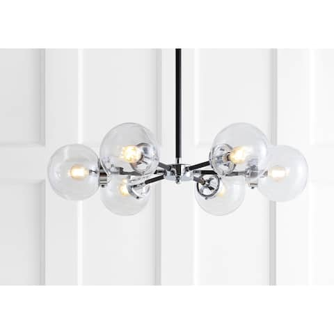 "Caleb 6-Light 28"" Brass Cluster Pendant, Chrome/Black by JONATHAN Y"