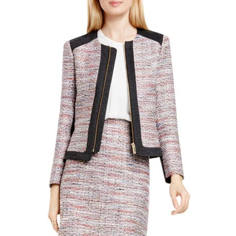 Vince Camuto Womens Tweed Jacket Front Zip Contrast Trim - Ash Rose - 10