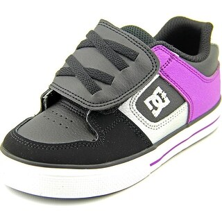 DC Shoes Pure V Toddler Round Toe Leather Black Skate Shoe
