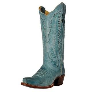 Cinch Western Boots Womens Cowboy Heel Pull Tabs Mad Dog Blue CFW1002