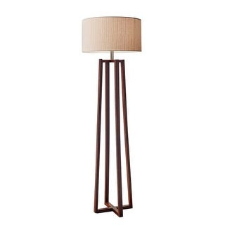 "Adesso 1504 Quinn 1 Light 60"" Tall Floor Lamp with Natural Fiber Linen Shade"
