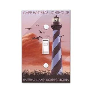 North Carolina - Cape Hatteras Lighthouse - Lantern Press Artwork (Light Switchplate Cover)