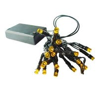 Set of 20 Battery Operated Amber LED Wide Angle Christmas Lights - Green Wire