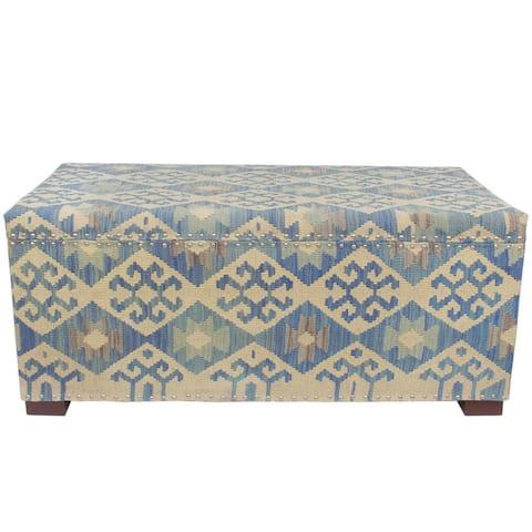 "Shabby Chic Xu Blue/Beige Kilim Upholstered Storage Settee - 49""x24""x21"""
