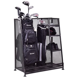 Goplus Dual Golf Organizer Storage Rack Fit 1-2 Golf Bags Clubs Accessories - Black
