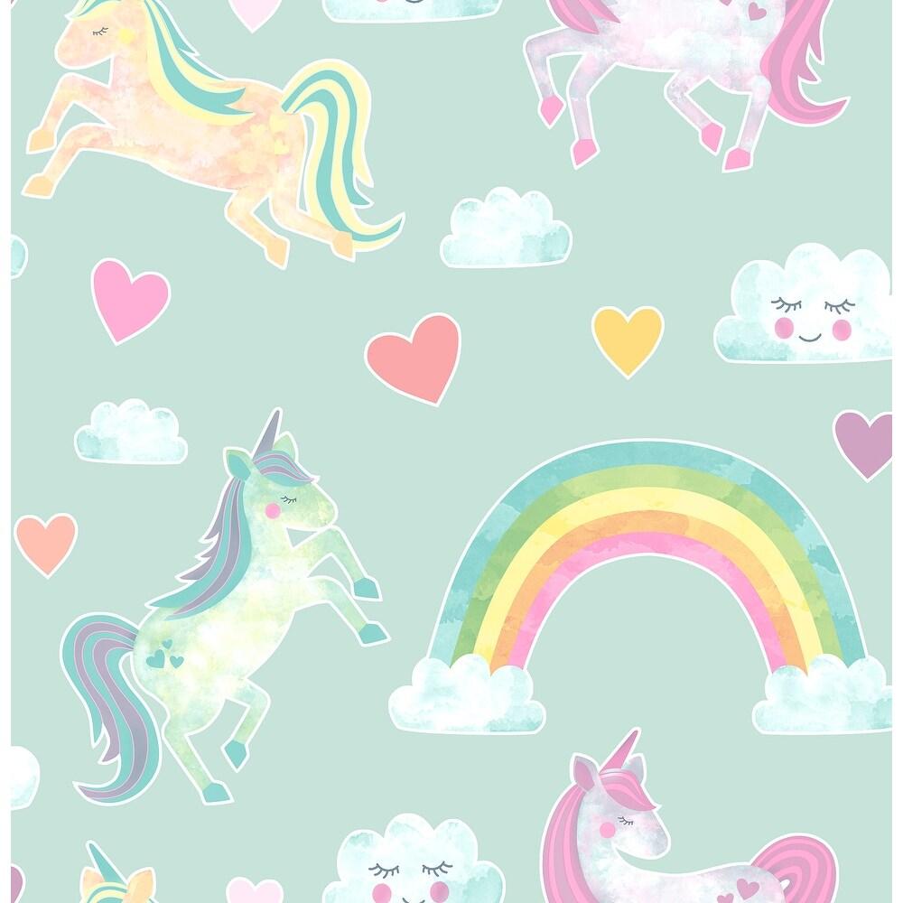 Brewster  HN002657   Kids 56-3/8 Square Foot - Elora Unicorn Wonderland - Unpasted Paper Wallpaper - Mint / Yellow / Pink (Mint / Yellow /
