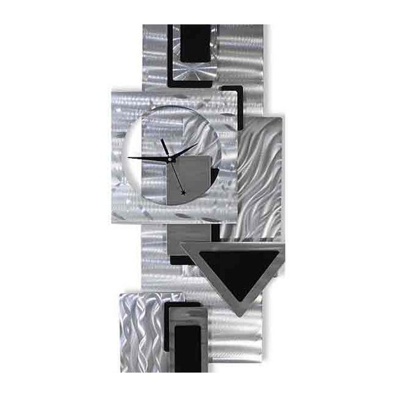 Statements2000 Abstract Metal Wall Clock Modern Geometric Functional Art By Jon Allen Dynamic Notions Ii 37 X 17 Overstock 12431895