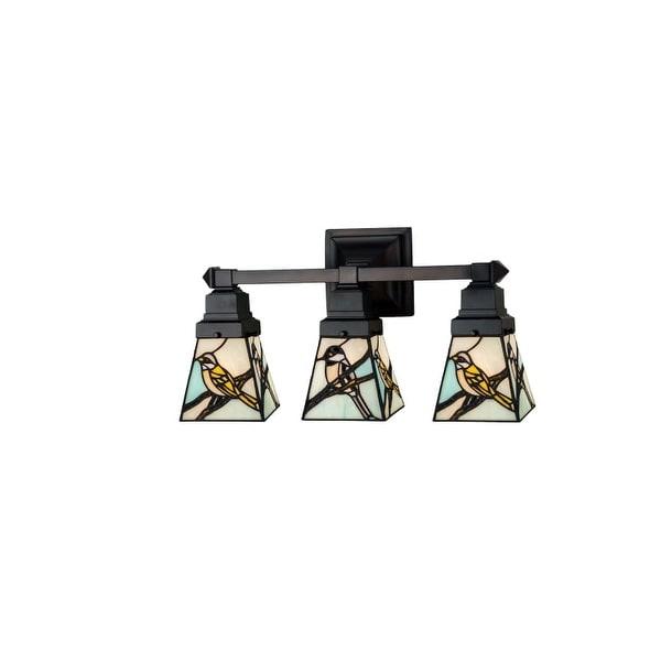 "Meyda Tiffany 98392 Backyard Friends 3 Light 20"" Wide Bathroom Vanity Light with Tiffany Glass Shade"