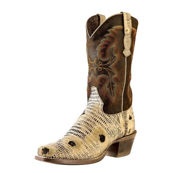 Outlaw Western Boots Womens Lizard Square Toe Oryx Worn Saddle