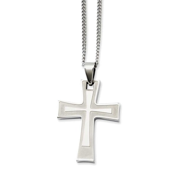 Stainless Steel Cross Pendant 24in Necklace (2 mm) - 24 in