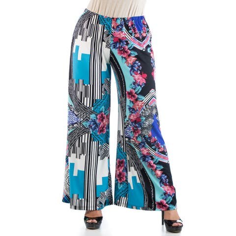 24seven Comfort Apparel Multicolor Plus Size Floral Palazzo Pants P002508LRR