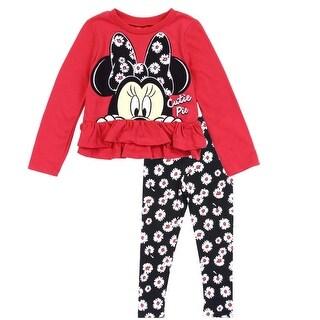 "Disney Little Girls Red Minnie ""Cutie Pie"" Print 2 Pc Leggings Outfit"