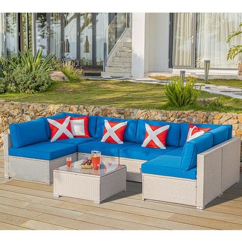 COSIEST 7 Piece Patio Furniture Beige Wicker Sectional Sofa Set