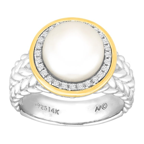 Button Freshwater Pearl & 1/8 ct Diamond Ring in Sterling Silver & 14K Gold