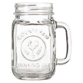 Libbey County Fair Drinking Mason Jar With Handle, Clear, 16 Ounces, (12-Pack)