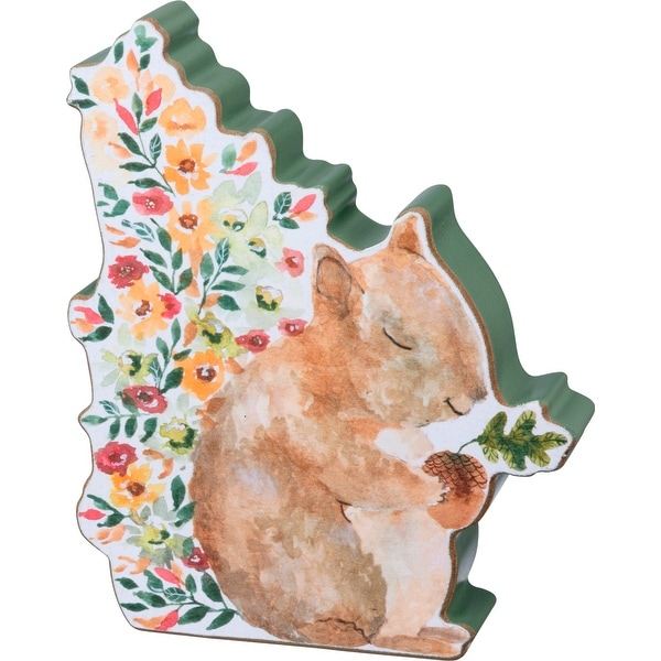 Fall Squirrel with Flowers Cut Out Chunky Sitter Wood