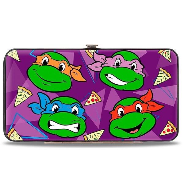 "Classic Teenage Mutant Ninja Turtles Faces + I ""Pizza Heart"" Tmnt Purple Hinge Wallet - One Size Fits most"