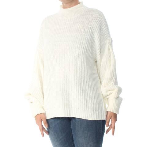 SANCTUARY Womens Ivory Bishop Sleeve Mara Drop Shoulder Mock Neck Sweater Size: L
