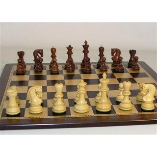 Rosewood Old Russian Chessmen on Ebony - Birdseye Chess Board