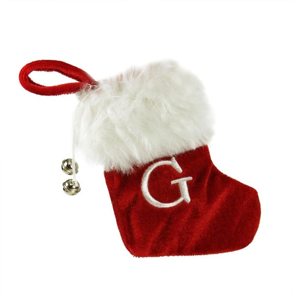 "7"" Red & White ""G"" Embroidered Mini Christmas Tree Stocking"