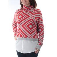 KENSIE Womens Red Geometric Long Sleeve Turtle Neck Sweater  Size: S