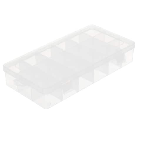 Unique Bargains Household Jewelry Craft Tools Plastic Adjustable Storage Divider Case Box Clear