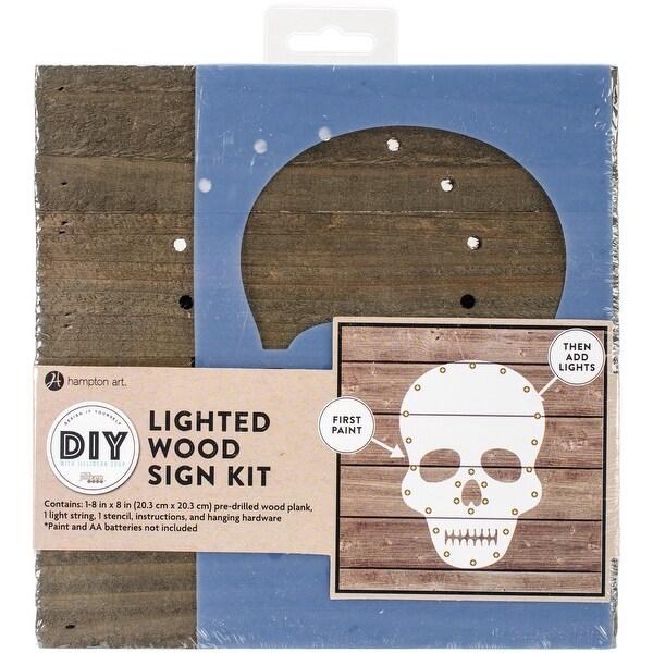"""String Art Kit W/Lights 8""""X8""""-Skull"""