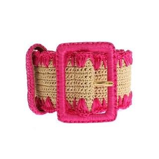 Dolce & Gabbana Pink Raffia Woven Wide Belt - 85-cm-34-inches