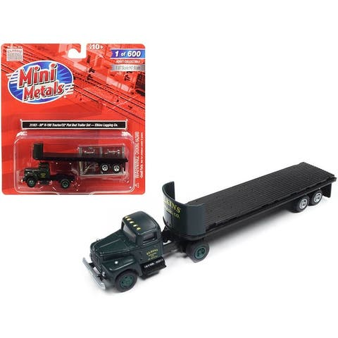 IH R-190 Tractor Truck with 32\' Flatbed Trailer Elkins Logging Co. 1/87 (HO) Scale Model by Classic Metal Works