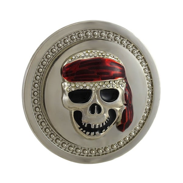 Spinning Red Bandanna Skull Rhinestone Belt Buckle