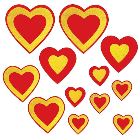 """Club Pack of 144 Assorted Red and Golden Yellow Glittered Heart Cutouts 12"""""""