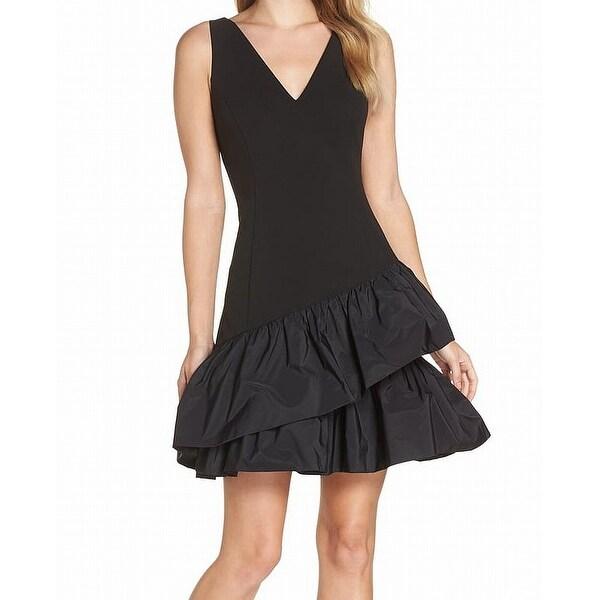 Vince Camuto Black Womens Size 0 Scuba Crepe V-Neck Shift Dress