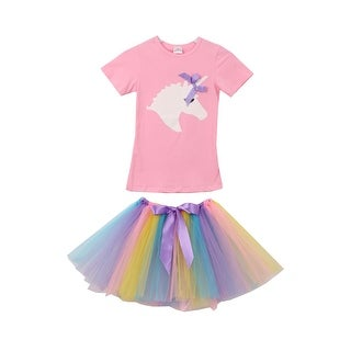 Unicorn Print Tee T-Shirt Top for Little Girl Pink 201463