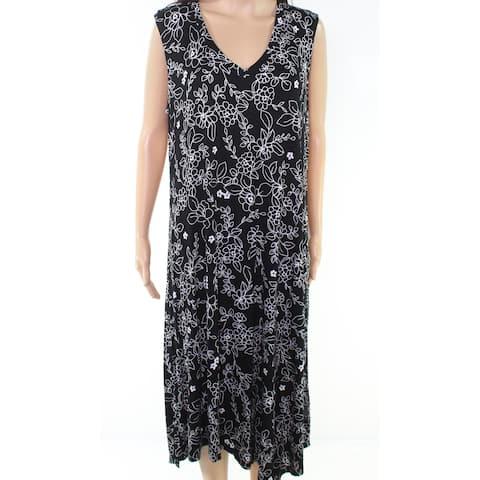 Marc York Women's Plus Floral Pront V-Neck Maxi Dress