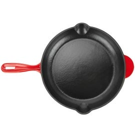Zelancio 12 inch Cast Iron Enamel Grill Pan Skillet