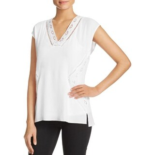 Daniel Rainn Womens Blouse Crepe Lace-Trim