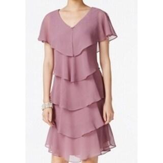 SLNY Elderberry Pink Womens 6 Tiered Rhinestone V-Neck Shift Dress