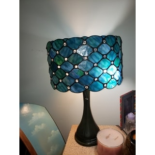 Tiffany Style Bue Jeweled Table Lamp