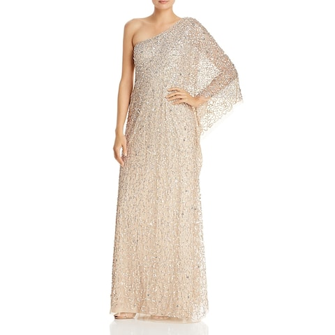 Adrianna Papell Womens Evening Dress One Shoulder Formal
