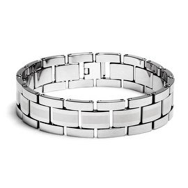 Chisel Men's Brushed and Polished Tungsten Carbide Bracelet - 8.5 Inches