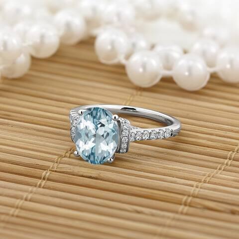 Auriya Modern 1 3/8ct Oval Aquamarine and Diamond Engagement Ring 3/8cttw 14k Gold