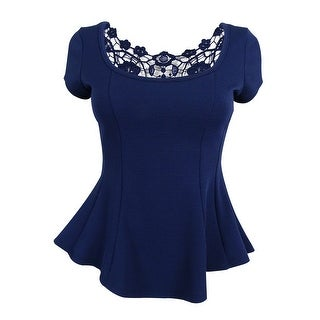 BCX Juniors' Jersey Round Neck with Lace Back Top - Navy