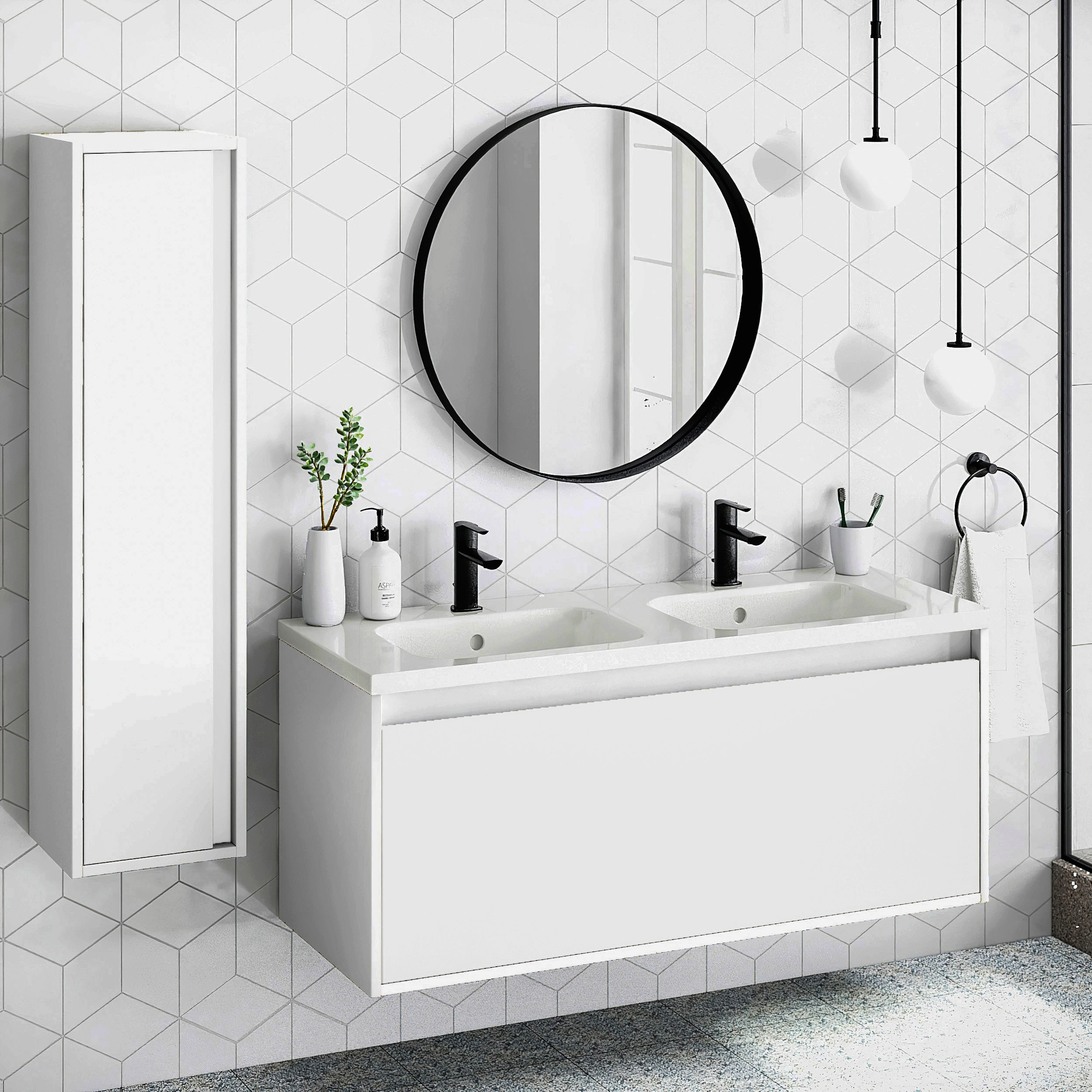 48 Bathroom Vanity Cabinet Ceramic Sink Tribeca W 48 X H 20 X D 18 In Rhd White Overstock 31571509