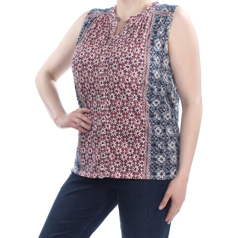 LUCKY BRAND Womens Red Floral Peasant Top Plus Size: 1X