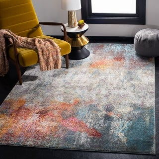 Link to Safavieh Luxor Khanh Modern Abstract Ivory / Blue Rug Similar Items in Rugs